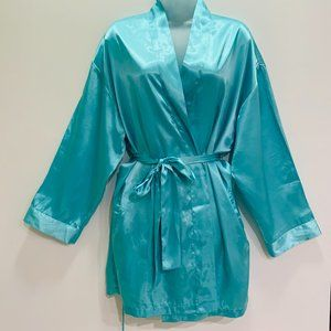 90s Victorias Secret Teal Silky Mini Robe